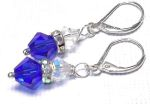 Sterling Silver Swarovski Crystal Earrings  - Sapphire
