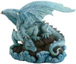 Blue Water Dragon On Rock Statue