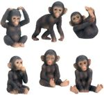 Chimpanzees - Set Of 6 Figurine Statues