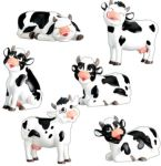 Cows (set Of 6) Figurine Statues