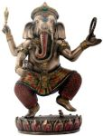 Dancing Ganesha On Lotus Statue