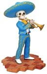 Mariachi Band Skeleton Trumpet Player - Blue