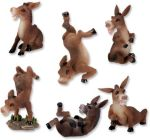 Donkeys - Set Of 6 Figurine Statues