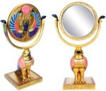 Ancient Egyptian Horus Sun Disk Mirror With Stand