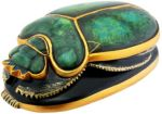Ancient Egyptian Green & Gold Scarab Statue