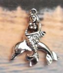 Mermaid On A Dolphin Pendant