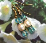 Handmade Earrings Aquamarine and Pearl Wedding Earrings