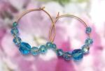Handmade Jewelry -  Aquamarine Crystal Hoop Earrings