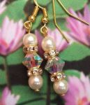 Aurora borealis and Pearl Wedding Earrings