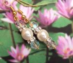 Handmade Earrings Aurora borealis and Pearl Wedding Earrings