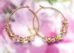 Handmade Jewelry -  Aurora Borealis Crystal Hoop Earrings