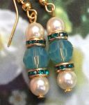 Handmade Earrings Blue Opal and Pearl Wedding Earrings
