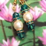Handmade Earrings Blue zircon and Pearl Wedding Earrings