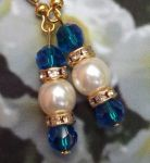 Mediterranean Blue Crystal/Pearl Wedding Earrings