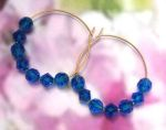Handmade Jewelry -  Mediterranean Blue Crystal Hoop Earrings