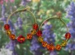 Handmade Jewelry -  Orange Padparadcha Crystal Hoop Earrings
