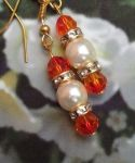 Padparadcha and Pearl Wedding Earrings