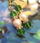 Handmade Earrings Peridot and Pearl Wedding Earrings