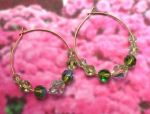 Handmade Jewelry -  Peridot Crystal Hoop Earrings