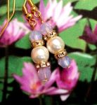Handmade Earrings Pink Opal and Pearl Wedding Earrings