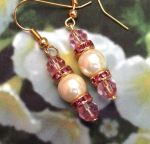 Rose and Pearl Wedding Earrings