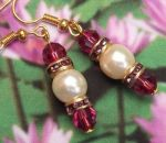 Handmade Earrings Rubellite and Pearl Wedding Earrings