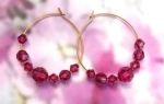 Handmade Jewelry -  Rubellite Tourmaline Crystal Hoop Earrings