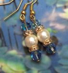 Handmade Earrings Sapphire blue and Pearl Wedding Earrings