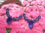 Handmade Jewelry -  Sapphire Blue Crystal Hoop Earrings