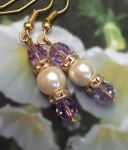 Handmade Earrings Tanzanite and Pearl Wedding Earrings