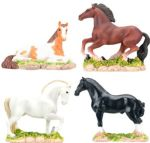 Horses, Set Of 4 Figurine Statues