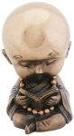 Joyful Monk Reading Statue - Bronze Finish