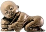 Joyful  Monk Resting Statue - Bronze Finish