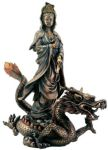 Guanyin (kuan Yin) Goddess With Dragon Statue