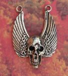 Large Winged Skull Jewelry Pendant