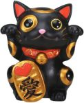 Black Maneki Neko Good Luck Statue