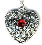 Medium French Heart Necklace With Crystal