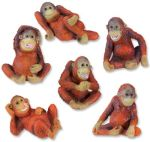 Orangutans - Set Of 6 Figurine Statues