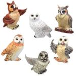 Owls - Set Of 6 Figurine Statues