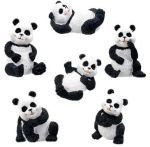 Pandas - Set Of 6 Figurine Statues