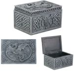 Pewter Finish Dragon Celtic Jewelry Box