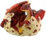 Red Dragon Hatching Figurine Statue