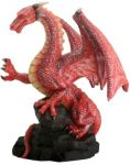 Red Dragon On Rock Statue