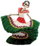 Day of the Dead Dancing Green Senorita Skeleton Statue
