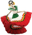 Day of the Dead Dancing Red Senorita Skeleton Statue