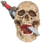 Skull Head With Dagger Figurine Statue