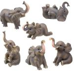 Small Elephant - Set Of 6 Figurine Statues
