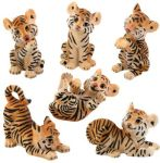 Tiger Cubs Figurines (set Of 6)