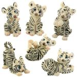 White Tiger Cubs Figurines (set Of 6)